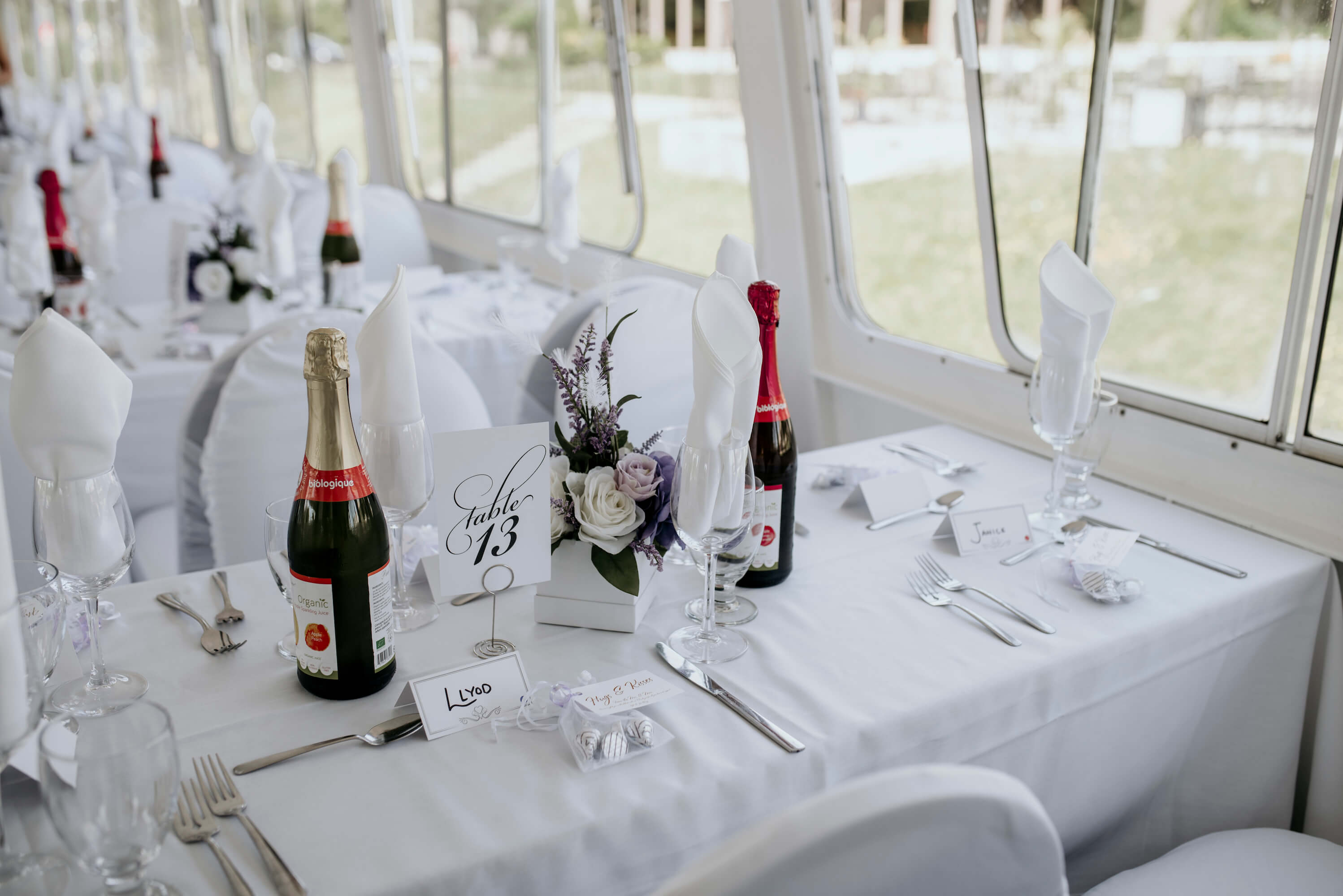 Interior photo of Lady Muskoka of table 13 during wedding